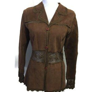 Static Womens Leather suede Jacket Crochet
